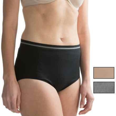 Ellen Tracy Seamless Tipped Panties - Full Briefs, 3-Pack (For Women) in Sunbeige/Heathergrey/Black - Closeouts