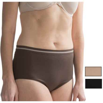 Ellen Tracy Seamless Tipped Panties - High-Cut Briefs, 3-Pack (For Women) in Expresso/Sunbeige/Black - Closeouts