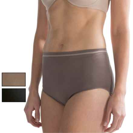 Ellen Tracy Seamless Tipped Panties - High-Cut Briefs, 3-Pack (For Women) in Mocha/Black/Latte - Closeouts