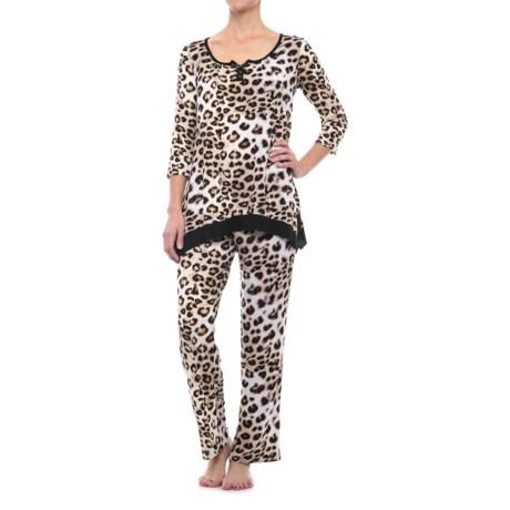 Ellen Tracy Shark Bite Pajamas - 3/4 Sleeve (For Women) in Black