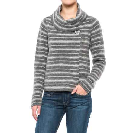 Ellen Tracy Shawl Collar Striped Sweater Jacket (For Women) in Charcoal Grey/Light Brown Heather - Closeouts
