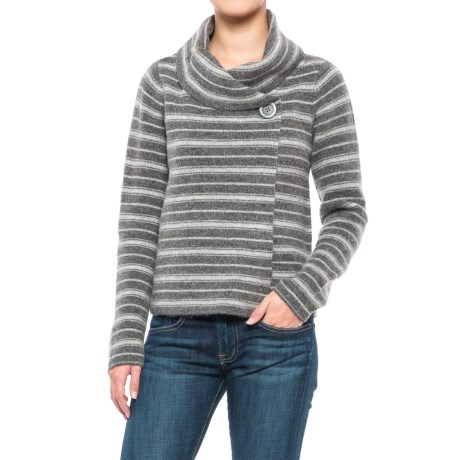 Ellen Tracy Shawl Collar Striped Sweater Jacket (For Women) in Charcoal Grey/Light Brown Heather