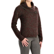Ellen Tracy Shawl Collar Sweater (For Women) in Dark Charcoal Heather/Roasted Plum - Closeouts