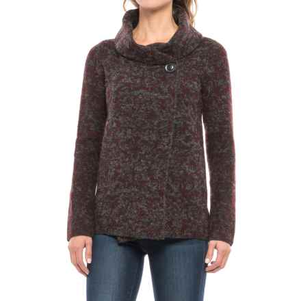 Ellen Tracy Shawl Collar Sweater Jacket (For Women) in Dark Charcoal/Roasted Plum - Closeouts