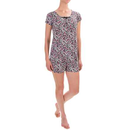 Ellen Tracy Shorty Pajamas - Short Sleeve (For Women) in Black  Grd Pink/Coral Floral - Closeouts
