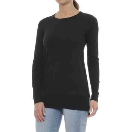 Ellen Tracy Step Hem Tunic Sweater - Merino Wool (For Women) in Black - Closeouts