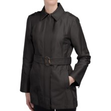 Ellen Tracy Structured Sateen Trench Coat (For Women) in Black - Closeouts