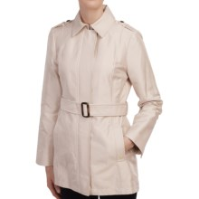 Ellen Tracy Structured Sateen Trench Coat (For Women) in Pearl - Closeouts