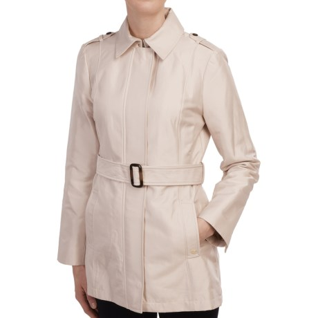 Ellen Tracy Structured Sateen Trench Coat (For Women)