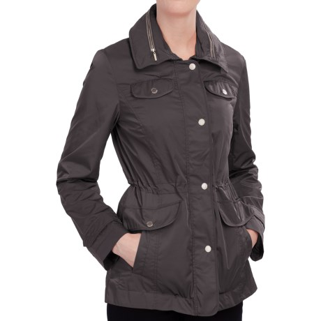 Ellen Tracy Techno Anorak Jacket Storm Flap, Stowaway Hood (For Women)