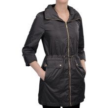 Ellen Tracy Techno Anorak Jacket - Zip Front, Stowaway Hood (For Women) in Black - Closeouts