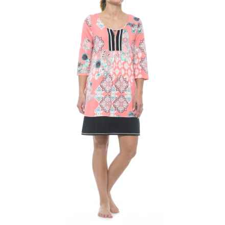 Ellen Tracy Tunic Sleep Shirt - 3/4 Sleeve (For Women) in Coral Print - Closeouts