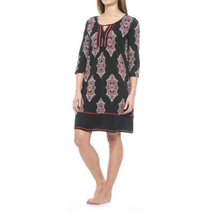 Ellen Tracy Tunic Sleep Shirt - 3/4 Sleeve (For Women) in Red - Closeouts