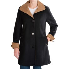 Ellen Tracy Wool Color-Block Swing Coat (For Women) in Black/Caramel - Closeouts