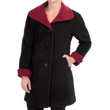 Ellen Tracy Wool Color-Block Swing Coat (For Women) in Black Ruby - Closeouts