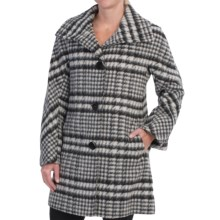 Ellen Tracy Wool Plaid A-Line Coat (For Women) in Black/White - Closeouts
