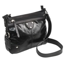 Ellington Bella Crossbody Purse - Glossy Italian Leather in Black - Closeouts