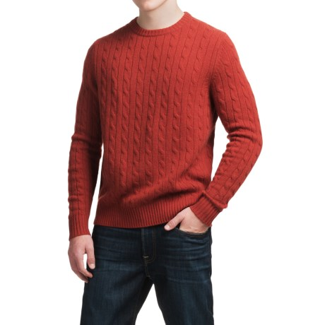 Elliot Mulryan Cable Cashmere Sweater - Crew Neck (For Men) in Cider