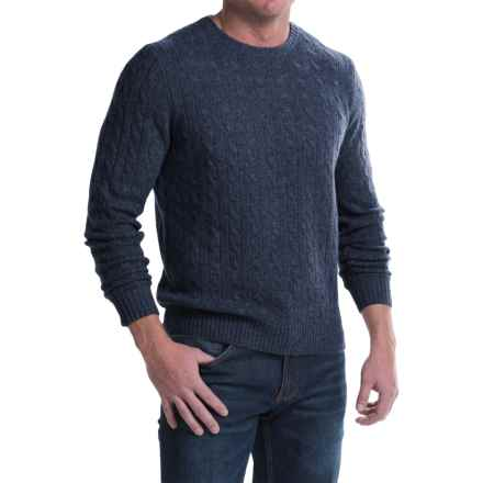 Elliot Mulryan Cable Cashmere Sweater - Crew Neck (For Men) in Dark Denim - Closeouts