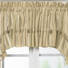 "Ellis Curtain Stacey Ruffled Valance - 54x13"", Rod-Pocket Top in Almond - Closeouts"