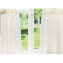 """Ellis Curtain Stacey Tailored Curtain Tiers - 56x24"""", Rod-Pocket Top in Ice Cream - Closeouts"""