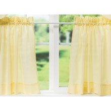 "Ellis Curtain Stacey Tailored Curtain Tiers - 56x24"", Rod-Pocket Top in Maize - Closeouts"