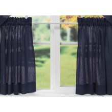 """Ellis Curtain Stacey Tailored Curtain Tiers - 56x24"""", Rod-Pocket Top in Navy - Closeouts"""