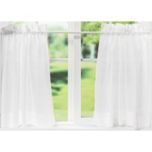 "Ellis Curtain Stacey Tailored Curtain Tiers - 56x24"", Rod-Pocket Top in White - Closeouts"