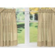 "Ellis Curtain Stacey Tailored Curtain Tiers - 56x36"", Rod-Pocket Top in Almond - Closeouts"