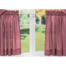 "Ellis Curtain Stacey Tailored Curtain Tiers - 56x36"", Rod-Pocket Top in Berry - Closeouts"