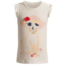 Embellished Ruffle Shirt - Sleeveless (For Infant and Toddler Girls) in White W/Dog/Hat - 2nds
