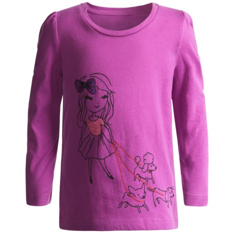 Embellished T-Shirt - Long Sleeve (For Infant and Toddler Girls) in Yellow Puppy
