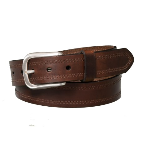 Embossed Edge Smooth Leather Belt with Buckle (For Men)