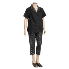 Embroidered Cotton Shirt and Capri Set - 2-Piece (For Plus Size Women) in Black - 2nds
