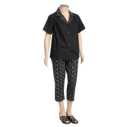 Embroidered Cotton Shirt and Capri Set - 2-Piece (For Plus Size Women) in Black