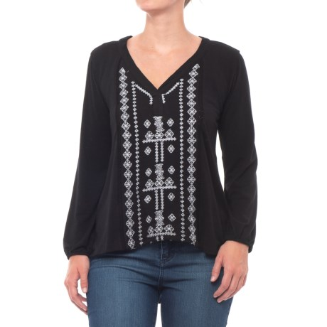 Embroidered High-Low Shirt - Long Sleeve (For Women)