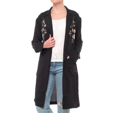 Embroidered Kimono Robe - Long Sleeve (For Women)
