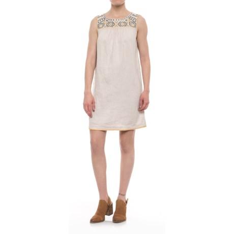 Embroidered Linen Dress - Sleeveless (For Women)