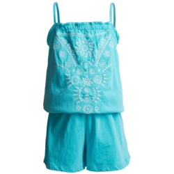 Embroidered Romper - Spaghetti Straps (For Girls) in Turquoise