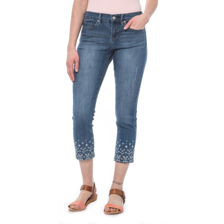 Embroidered Skinny Crop Jeans - Mid Rise (For Women)