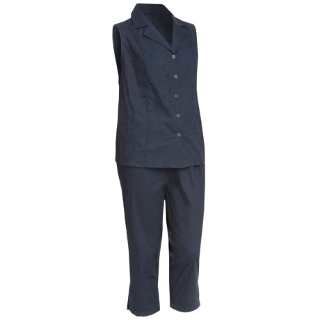 Embroidered Stretch Cotton Shirt and Capri Set - Sleeveless (For Plus Size Women) in Navy
