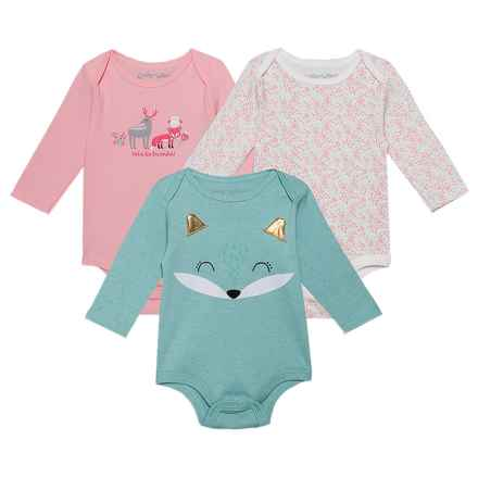 Emily & Oliver Baby Bodysuits - 3-Pack, Long Sleeve (For Newborns) in Green Fox - Closeouts