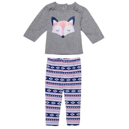 Emily & Oliver Shirt and Printed Leggings - Long Sleeve (For Newborn) in Grey Fox - Closeouts