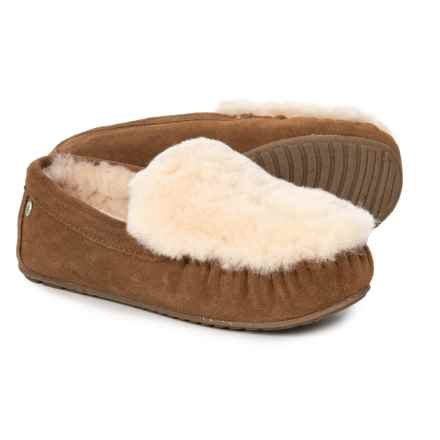 EMU Australia Cairns Reverse Fur Slippers - Leather (For Women) in Chestnut - Closeouts