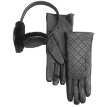 Emu Beechworth Ear Muffs and Gloves Gift Set - Sheepskin, Merino Wool (For Women) in Black - Closeouts