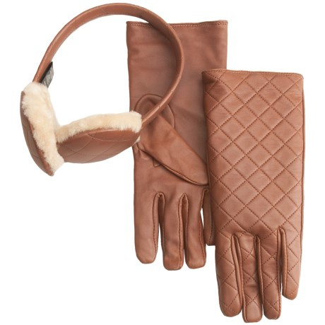 Emu Beechworth Ear Muffs and Gloves Gift Set - Sheepskin, Merino Wool (For Women) in Rust