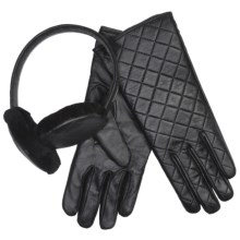 Emu Beechworth Earmuffs and Gloves Set - Sheepskin, Merino Wool (For Women) in Black - Closeouts