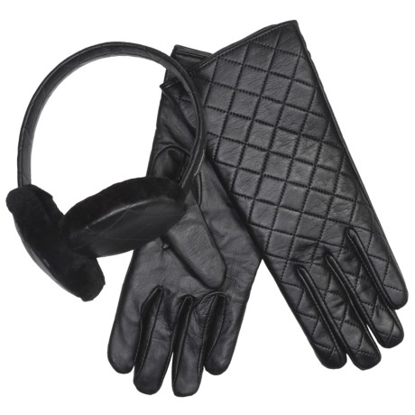 Emu Beechworth Earmuffs and Gloves Set - Sheepskin, Merino Wool (For Women) in Black