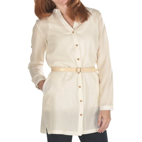 Emu Cabarita Shirt Dress - Merino Wool, Long Sleeve (For Women) in Natural