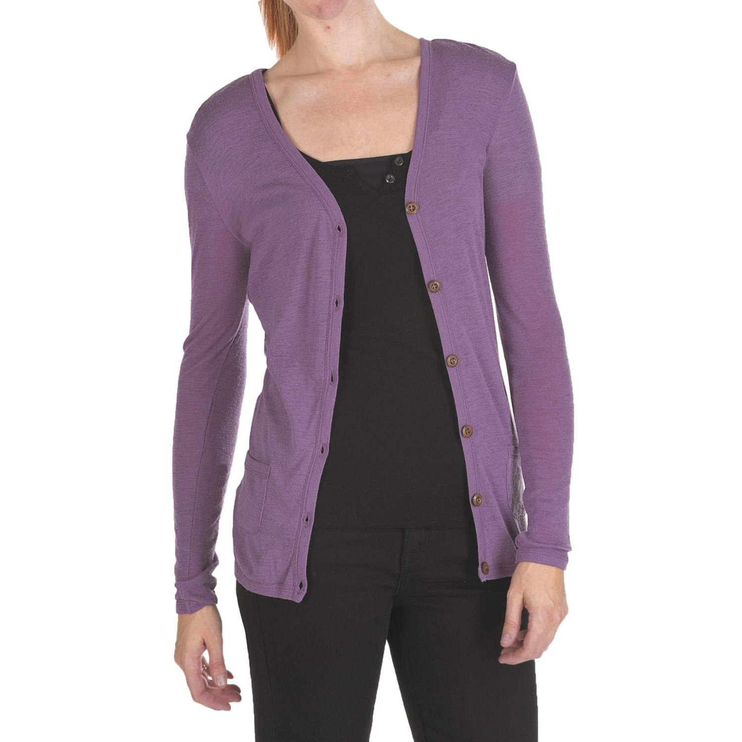 Ladies Lightweight Cardigan Sweaters - Cardigan With Buttons